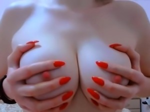 Big natural boobs tits hard pink nipples