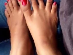 indian feet red toenails teasing fj