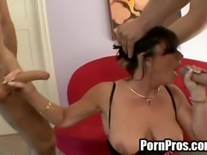 Experienced brunette is glad to have one more double penetration sex