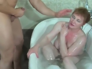 russian  stepmom fucked in bath