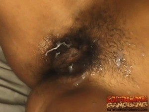Six horny studs get to stretch the sexy slender blonde's hungry holes