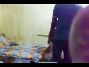 Horny Indian man caressing slim body of his gf