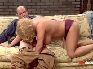 Super juggy classic blonde gives good blowjob to elder dude
