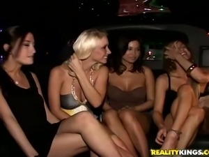 Glamorous chicks have hot lesbian sex at a private party