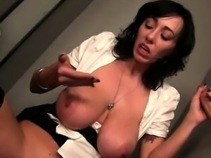 BJ expert slut masturbating on gloryhole