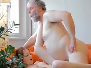 Old fucker attacks moist body of a young gal and licks it