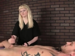 Dominant masseuse roping subs cock