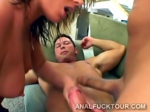 Big hard dicks destroy a big ass blondie's butt and cunt