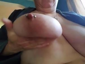 Gf sucking her nipple