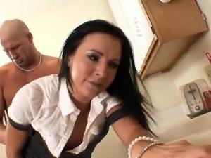 Pretty brunette secretary, Ashli Orion, gets it on with...