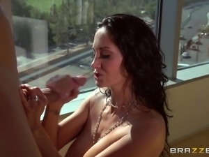 MILF with big tits cums while getting fucked in the shower
