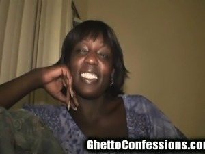 Chocolate hooker with a pretty smile offers a white guy a hot blowjob