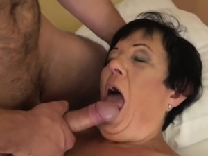 Brunette granny Hettie with small tits railed by big dick