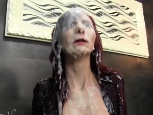 Bukkake slut gets slimed