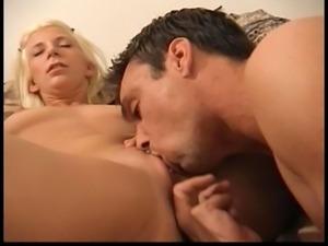 Blonde sucks dude's cock, then he eats and fucks her cunt