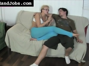 Provoking babe with glasses JC Simpson puts her gifted hands to work