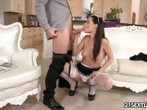Horny maid in sexy white stockings gets her trimmed pussy fucked hard