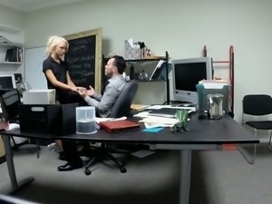 Hidden camera films sexy blonde secretary fucking her boss in the office