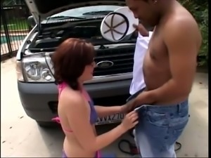 Horny chick in glasses exposes her round butt to get help with her car
