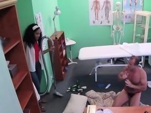 Doctor fucks ebony cleaning lady in office