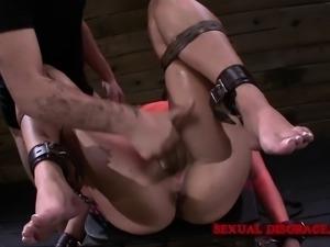 Naughty Ava Kelly fucks a mechanical toy and deepthroats a long shaft