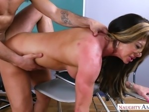 It was sensational to fuck my teacher in the classroom. My dick was in her...
