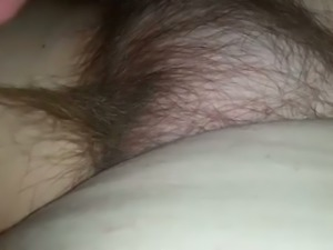 My friend plays with hairy pussy of his slutty all pale girlfriend