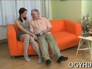 Young playgirl enjoys old dick in throat and bawdy cleft