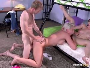Bunk bed sluts share his monster dick in a threeway