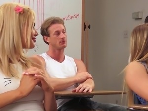 MILF watches over the perfect blonde getting banged in the classroom