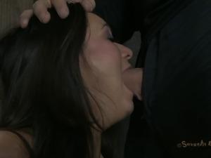 Beautiful slave withstanding deepthroat smashing in BDSM