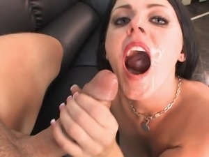 Babe in sultry lipstick sucks big cock that fucks her hard