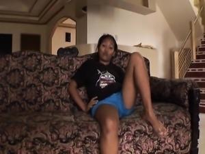 Filipina teen fucked on boyfriends couch