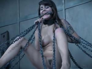 Painful punishment for small tittied brunet porn model Raquel Roper