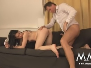 Mature man bangs sweet small tittied brunette in multiple poses