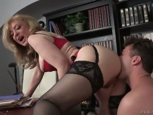 Sexy boss Nina Hartley makes her new employee worship her ass