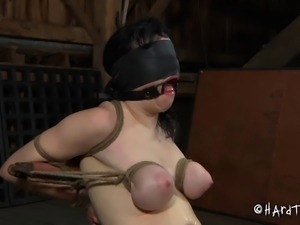 Closeup shoot of slave hot ass getting spanked in bondage
