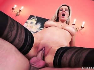 Mature gets face fucked by guys throbbing meat stick