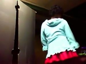 Tempestuous amateur granny dancing on webcam