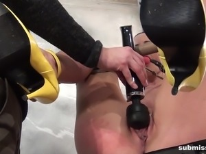Hot milf Cindy Dollar agreed for extreme BDSM session and she was tied up to...