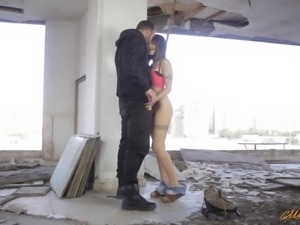 A guy spreads Alexa's legs and bangs her in the abandoned building