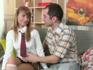 Delicious schoolgirl Zara swallows a hot load