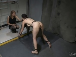 Naughty bimbo lets her hot domina penetrate her twat with a strap-on