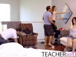 Slutty Teen Caught By Teacher With 2 Cocks