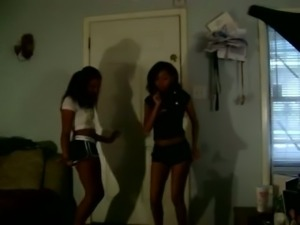 Two beautiful girls dancing seductively in amateur video