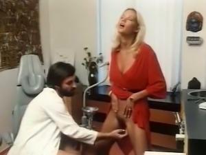 Sensational blonde European hottie in red dress visits gyno