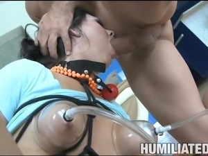 Experienced dark-haired woman gets a bondage session from the bald guy