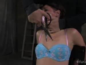 Mia Gold gets tied up and has her orgasmic snatch pleasured