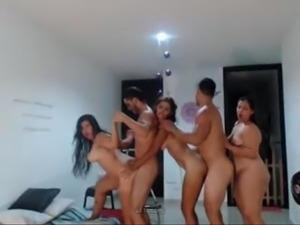 3 latinas fucking with 2 guys on cam
