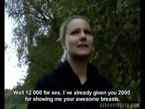 Cum thirsty blonde eating big cock outdoor